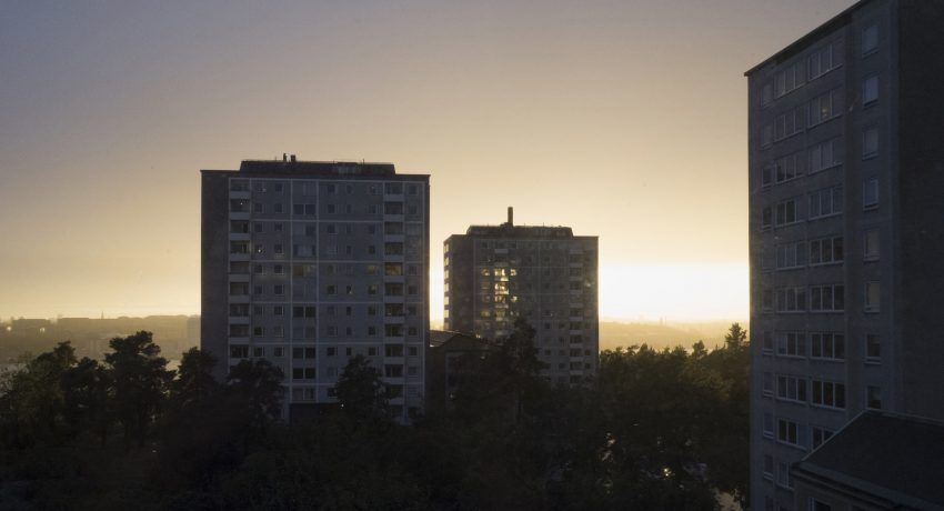 Apartment buildings at sunset